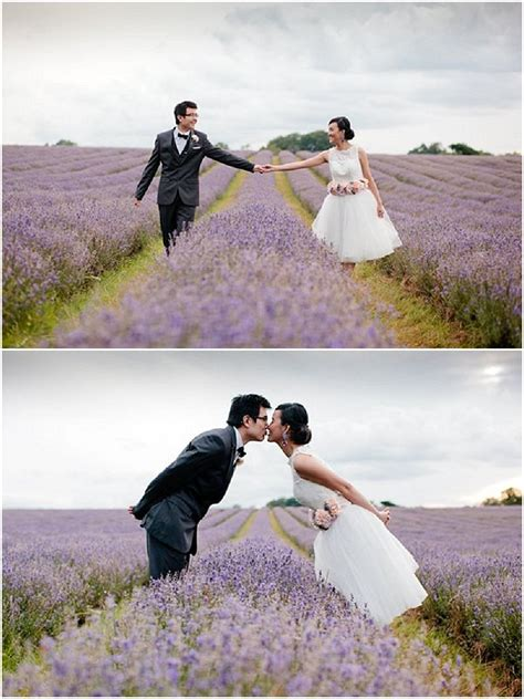a lavender field engagement shoot with heart macarons