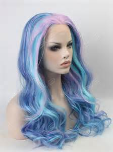 pastel colored wigs beautiful pastel mixed color wavy synthetic lace