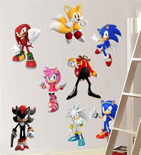 sonic wall stickers sonic hedgehog 8 characters decal removable wall sticker