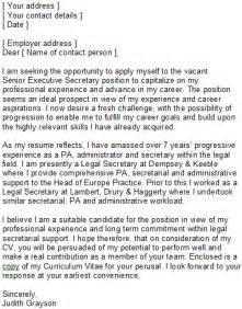 sample covering letter for secretaries amp pas