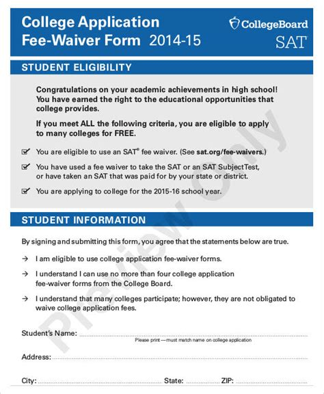 Coumbia Mba Fee Waiver by 35 Application Form Sles Free Premium Templates
