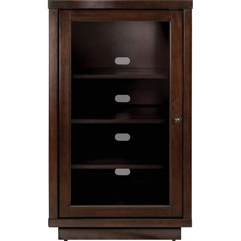 Glass Door Audio Cabinet Audio Component Cabinet Made Of Mahogany Wood In Brown Finished Single Swing Glass Door