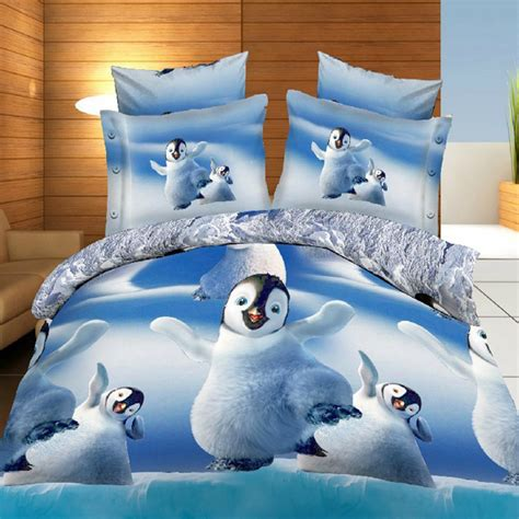 4pcs 3d cute penguins reactive dyeing thicken bedding sets