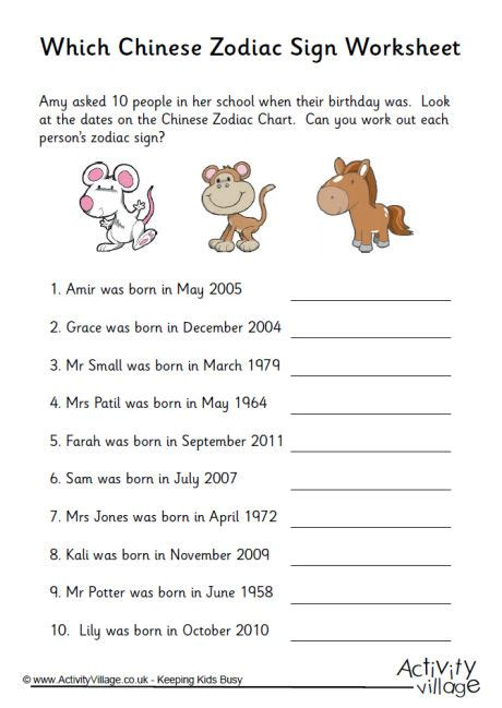 new year 2015 animal worksheets which zodiac sign worksheet 1