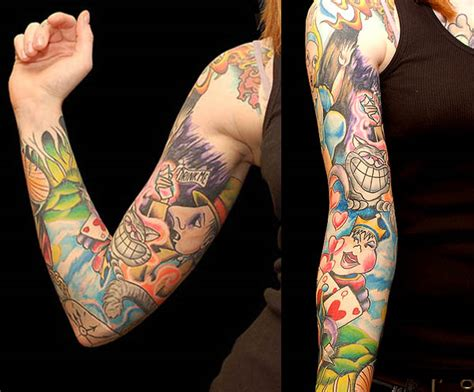 alice in wonderland tattoo sleeve curiouser in december 2011