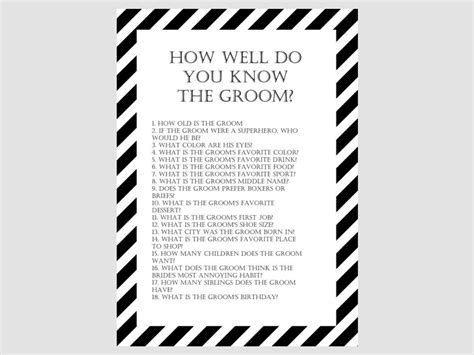 black and white printable bridal shower games modern black and white stripes bridal shower games