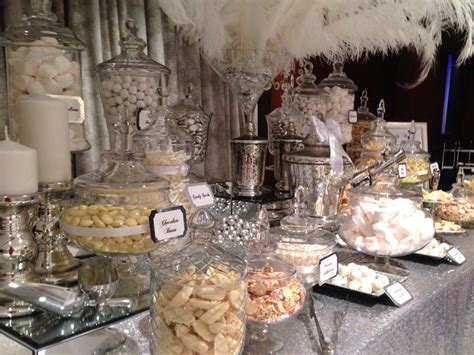 wedding candy buffet in silver and white candy buffets l