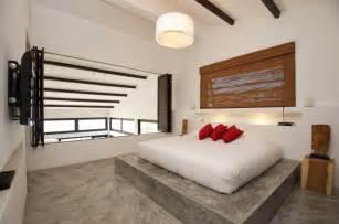 black white bed bedroom conrete floor interior