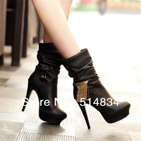 work boot style high heels fashion leather high heels boots for platform