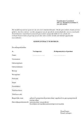 koopcontract woning download standaard koopcontract goedhart finance