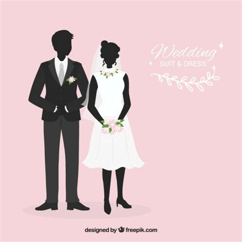 Wedding Vector Silhouette by Wedding Suit And Dress Silhouettes Vector Free