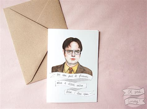 the office valentines cards dwight schrute greeting card watercolor the office