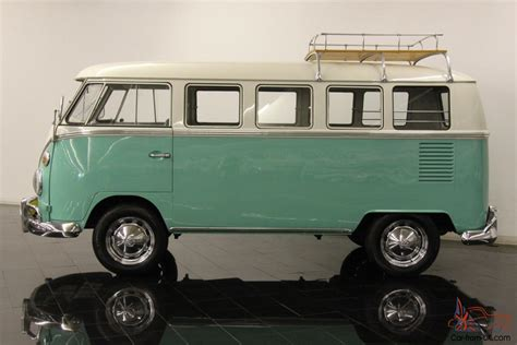 volkswagen type  deluxe  window micro bus restored mint green