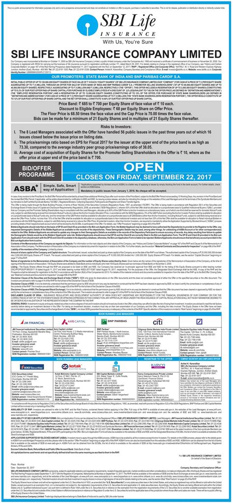 bid offer sbi insurance company limited bid offer programme ad