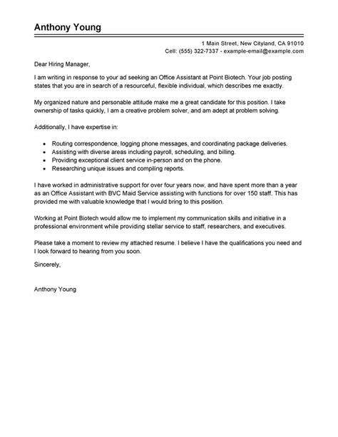 Cover Letter Exles For Assistant by Best Office Assistant Cover Letter Exles Livecareer