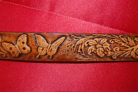 vintage leather belt tooled leather by