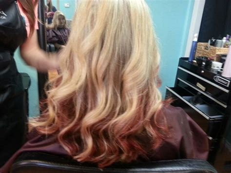 ombre hair technique blonde with red ends blonde ombre with red ends hair pinterest ombre