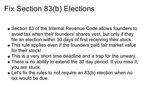 irc section 83 b election startup america suggestions