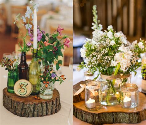 wooden slab for wedding centerpiece ideas