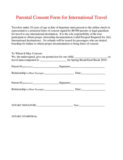 parental consent form template travel doc 728943