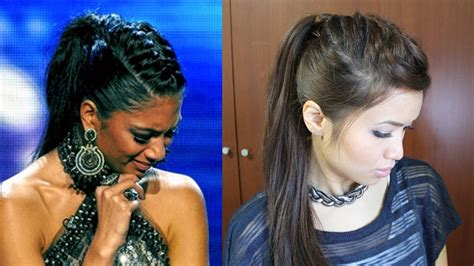 nicole scherzinger french braid edgy ponytail hairstyle