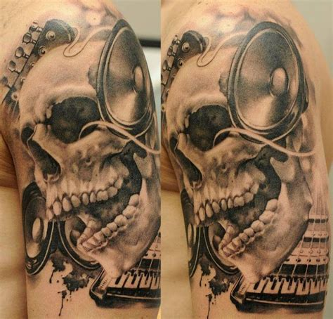 speaker tattoo 3d skull with speakers ideas