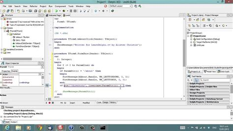 c tutorial for delphi programmers delphi programming tutorial 87 command line parameters