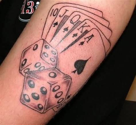 cards and dice tattoos on biceps stuff