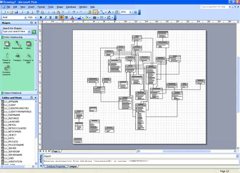 using microsoft visio to engineer a database