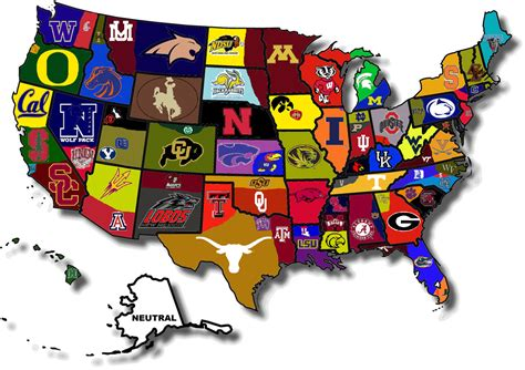 map usa football teams united states of college football a map of fan borders