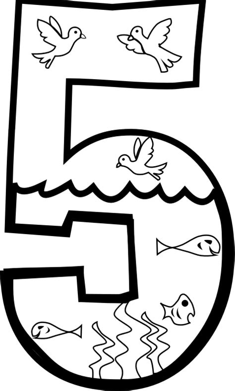 creation numbers coloring page clipart creation day 5 coloring page