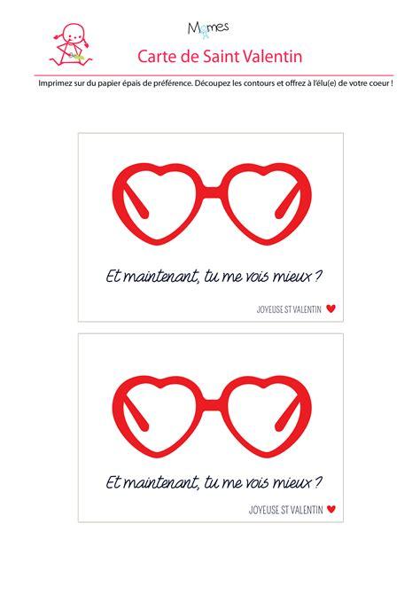 Cartes De Valentin by Carte Valentin Les Lunettes Coeurs Momes Net