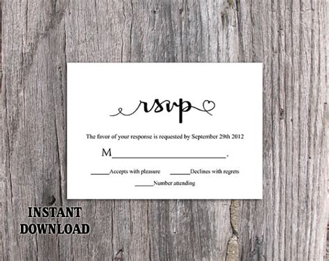 template for rsvp cards dinner diy wedding rsvp template editable word file instant