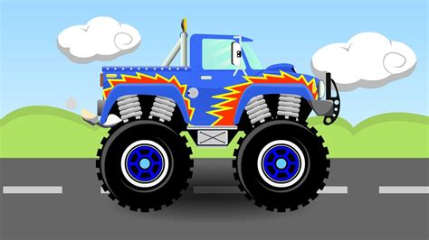 monster truck videos please blue monster truck cartoon 1 monster trucks for kids