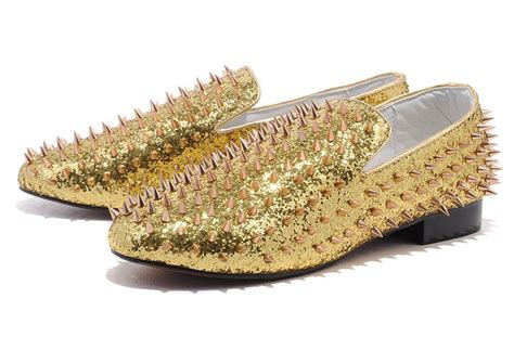 2012 new casual clf138 slip on gold shoes rivets