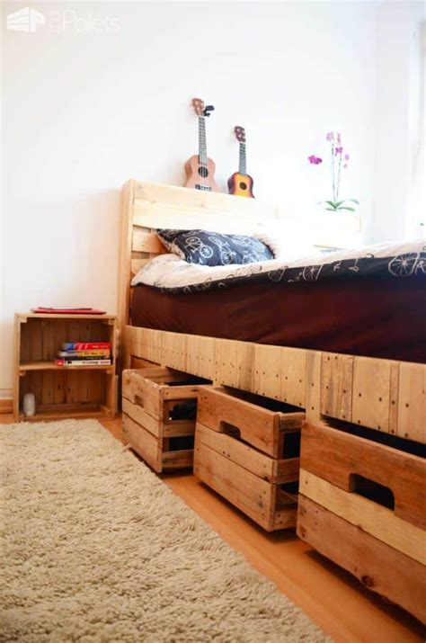 diy pallet bed with drawers pallet wood king size bed with drawers storage 1001 pallets