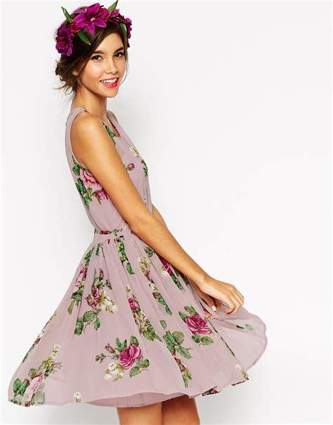 Flowery Charm Mini Dress asos wedding lilac floral skater mini dress lyst