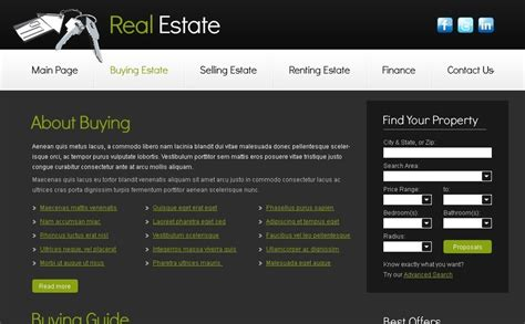 Free Real Estate Business Template Free Real Estate Website Templates