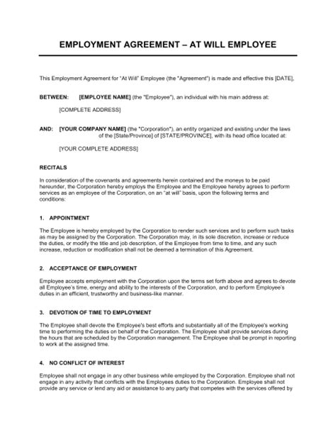 Employment Bond Letter Sle Employment Agreement At Will Employee Template Sle Form Biztree