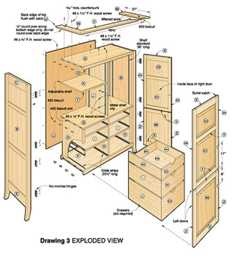 free wooden armoire plans woodproject