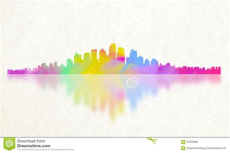 color reflections city of color reflection stock illustration illustration