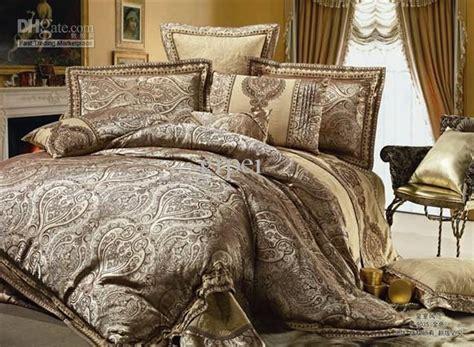 Paisley Duvet Covers Queen Satin Silk Floss Jacquard Set Bedding 100 Cotton Golden
