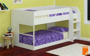 low bunk beds low line single bunk bed white