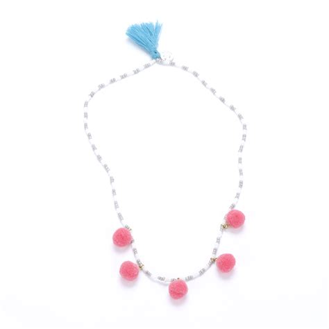 Raspberry Colorful colorful pompom necklace raspberry