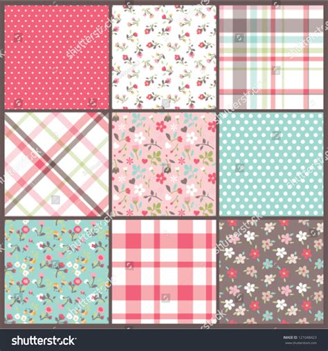 cute pattern checks set of nine orated seamless cute tiny floral flowers with
