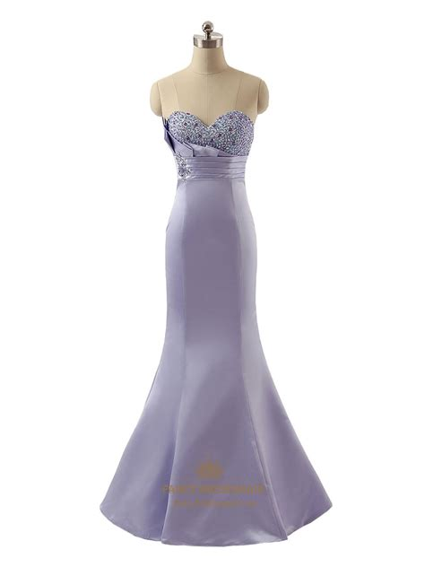 beaded mermaid prom dress exquisite lavender strapless satin beaded sweetheart