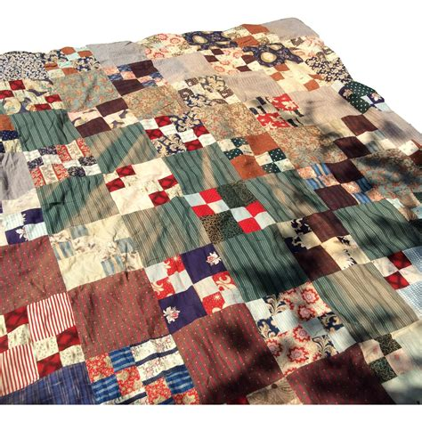 Vintage Patchwork Bedding - early vintage patchwork quilt top with billiken from