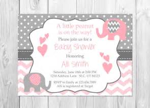pink and grey elephant baby shower invitation it s a elephant chevron pink