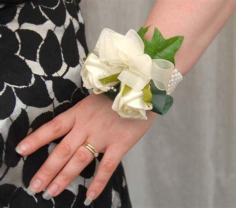 Wedding Ivory Rose & Pearl Loops Handmade on a Wrist Corsage   Sarah's Flowers