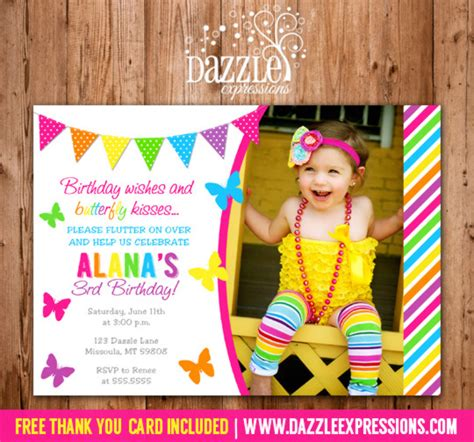 1st birthday thank you card free template printable butterfly birthday photo invitation